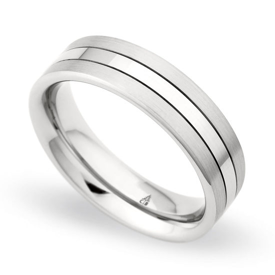 Christian Bauer Platinum and 18K White Gold Stripe Band