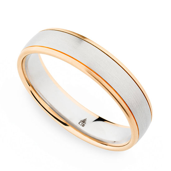 Christian Bauer Two Tone 18k Rose Gold and Platinum Mens Band