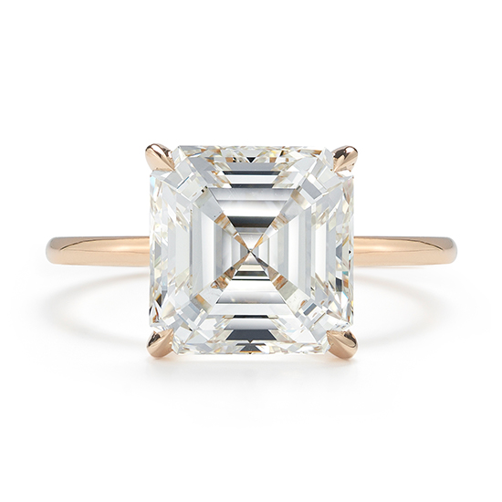 4 Carat Asscher Diamond Solitaire Ring 18K Rose Gold | Marisa Perry by Douglas Elliott