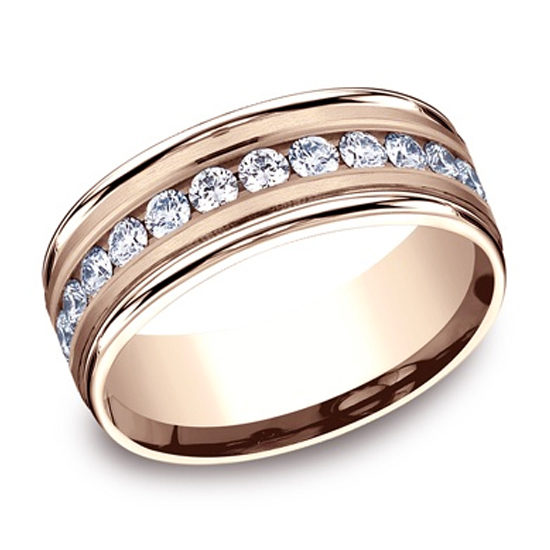 Satin Finish Diamond Band 14k Rose Gold