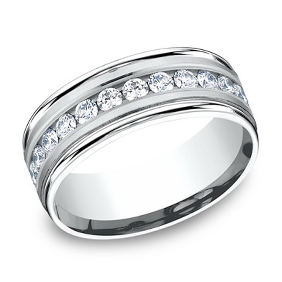 Satin Finish Diamond Band 14k White Gold