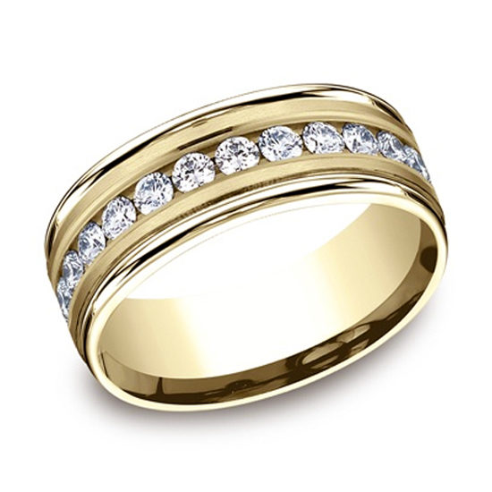 Satin Finish Diamond Band 14k Yellow Gold