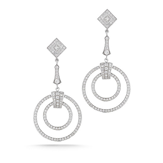 Art Deco Diamond Drop Earrings 18K White Gold