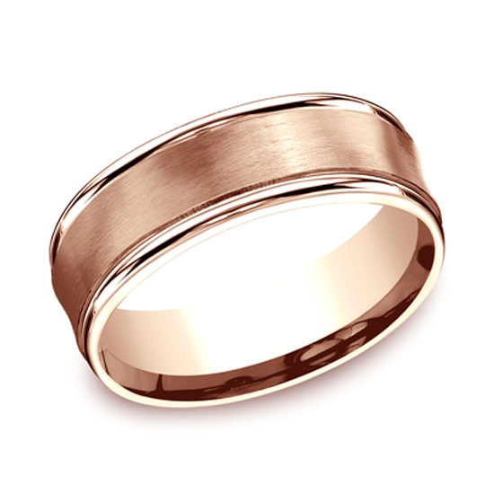 Comfort Fit Satin Finished Band with High Polished Edge 14k Rose Gold