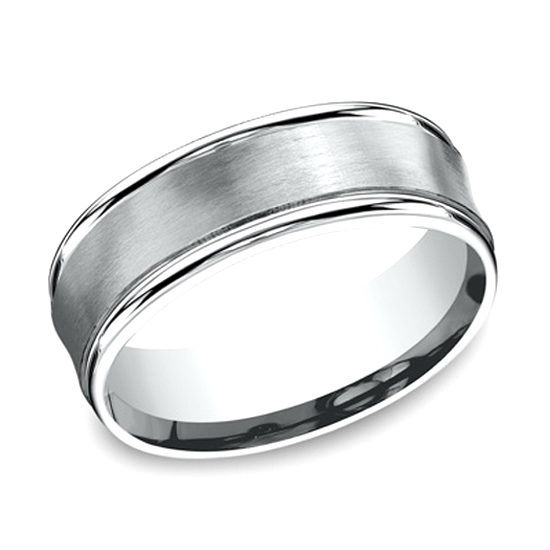 Comfort Fit Satin Finished Band with High Polished Edge 14k White Gold