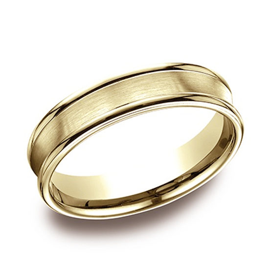 Comfort Fit Satin Finished Band with High Polished Edge 14k Yellow Gold