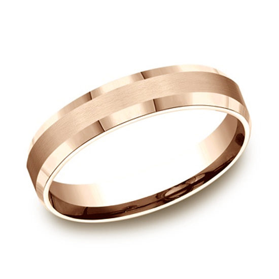 Beveled Edge Comfort Fit Band 14k Rose Gold