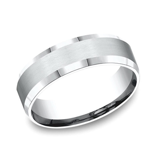 Beveled Edge Comfort Fit Band 14k White Gold