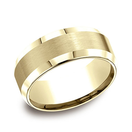 Beveled Edge Comfort Fit Band 14k Yellow Gold