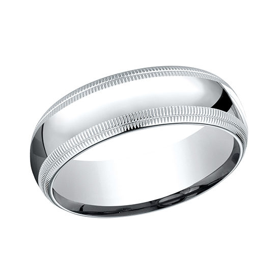 Double Milgrain Comfort Fit Mens Wedding Band Platinum