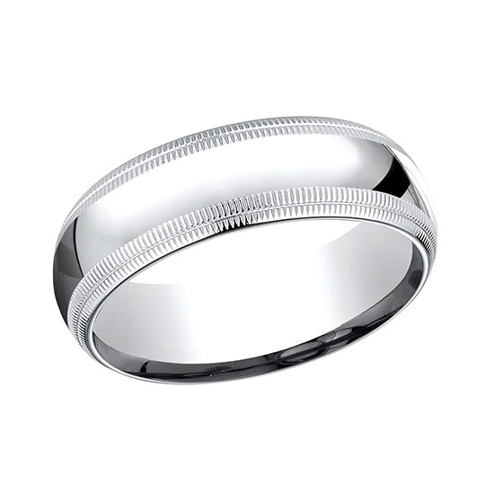 Double Milgrain Comfort Fit Band 14k White Gold