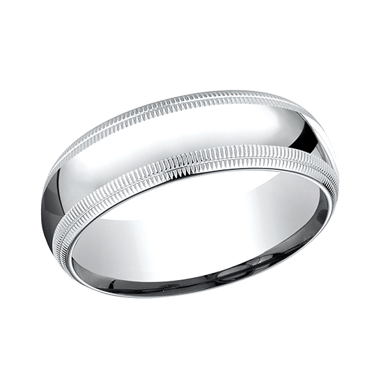 Td123864w 14k White Gold Double Milgrain 4mm Comfort Fit: Double Milgrain Comfort Fit Band 18k White Gold