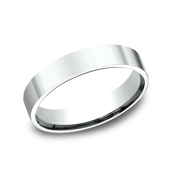 Flat Comfort Fit 14k White Gold