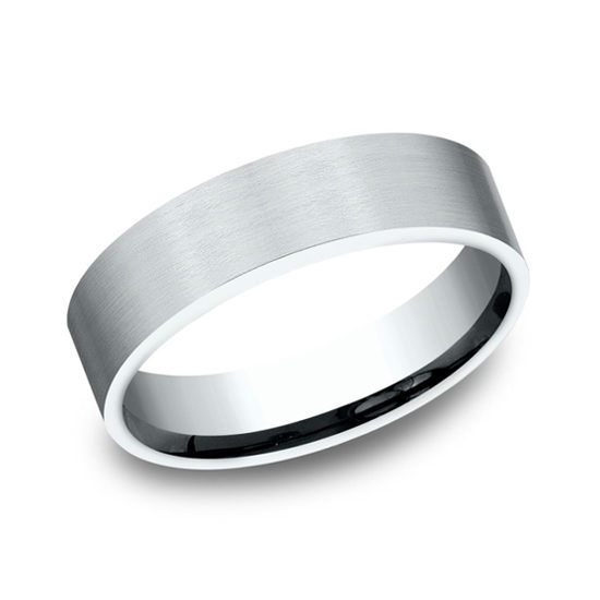 Satin Finish Flat Comfort Fit 14k White Gold