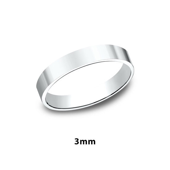 Flat Plain Band 14k White Gold