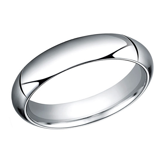 High Dome Comfort Fit Men's Wedding Band 14K White Gold