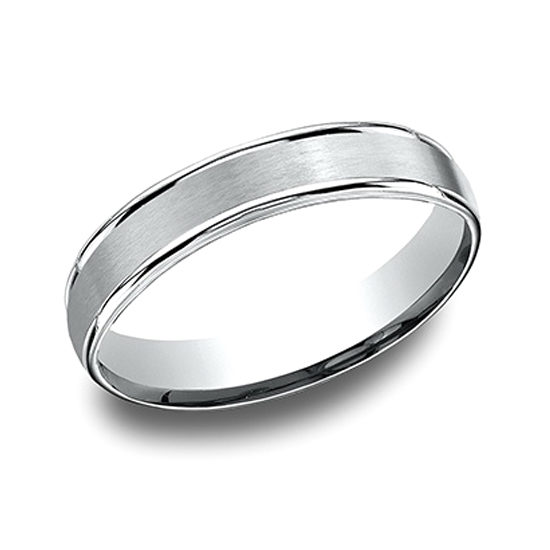 High Polished Lip Satin Band 14k White Gold