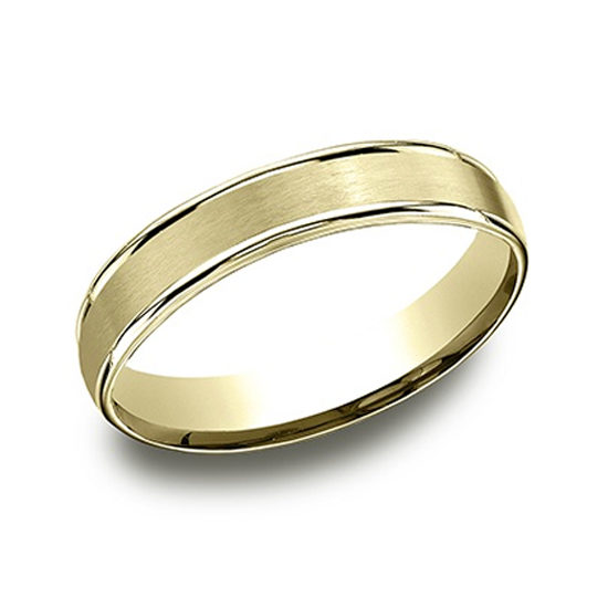 High Polished Lip Satin Band 14k Yellow Gold