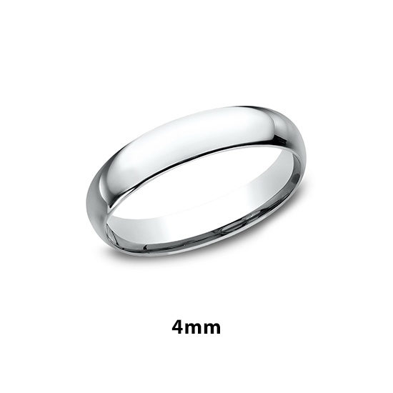 Low Dome Comfort Fit 18k White Gold