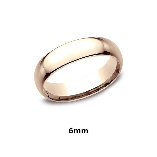 Low Dome Comfort Fit 14k Rose Gold