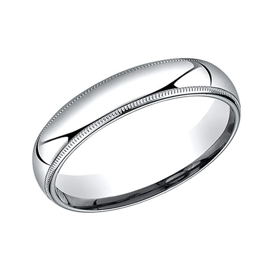 Milgrain Comfort Fit Band 14k White Gold