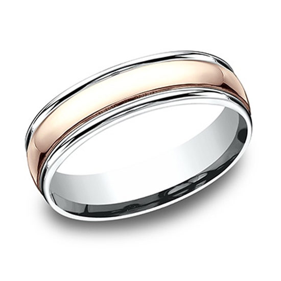 Two Tone High Polish Lip Comfort Fit Band 14k White Gold and 14k Rose Gold