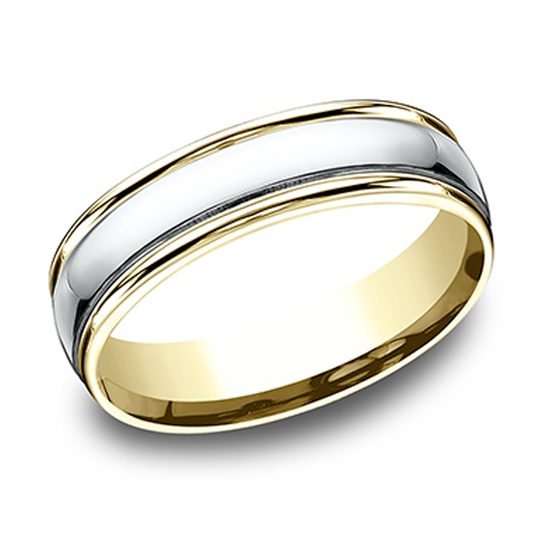Two Tone High Polish Lip Comfort Fit Band 18k White Gold and 18k Yellow Gold