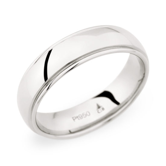 Christian Bauer Low Dome Band with a High Polished Lip Platinum