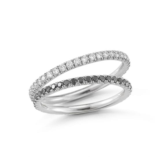 One Point White and Black Diamond Band