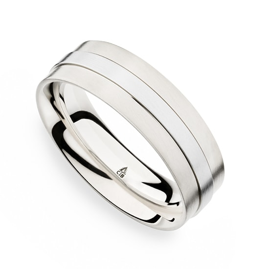 Christian Bauer Modern Mens Wedding Band Platinum with 18K White Gold