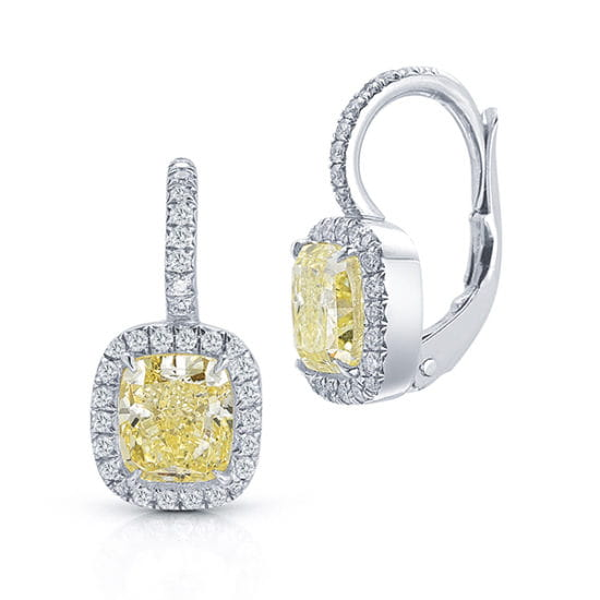 Light Fancy Yellow Cushion Cut Diamond and Micro Pave Earrings