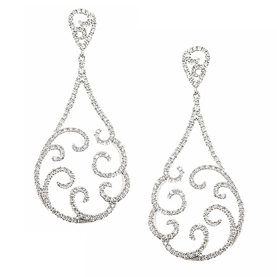 Diamond Wave Drop Earrings