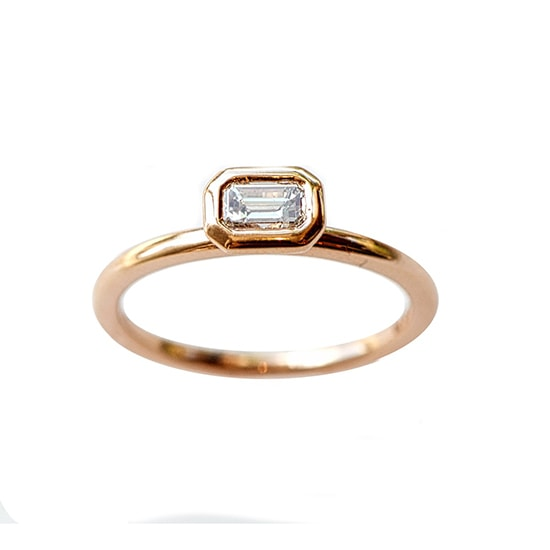 Bezel Set Emerald Cut Diamond in Rose Gold