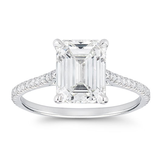 DE Emerald Cut Solitaire Setting with Shoulders | Marisa Perry by Douglas Elliott