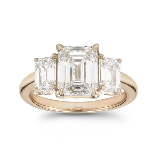 Emerald Cut Diamond Three Stone Engagement Ring 18K Rose Gold  | Marisa Perry by Douglas Elliott