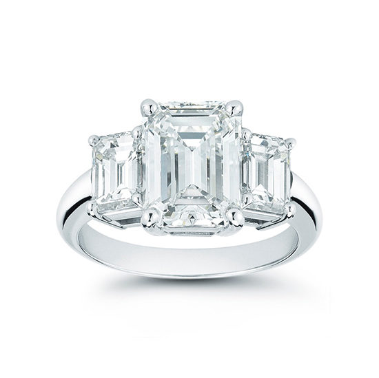 Platinum Three Stone Emerald Cut Ring | Marisa Perry by Douglas Elliott