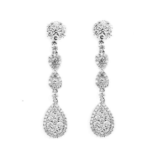 Falling Diamond Cluster Earrings