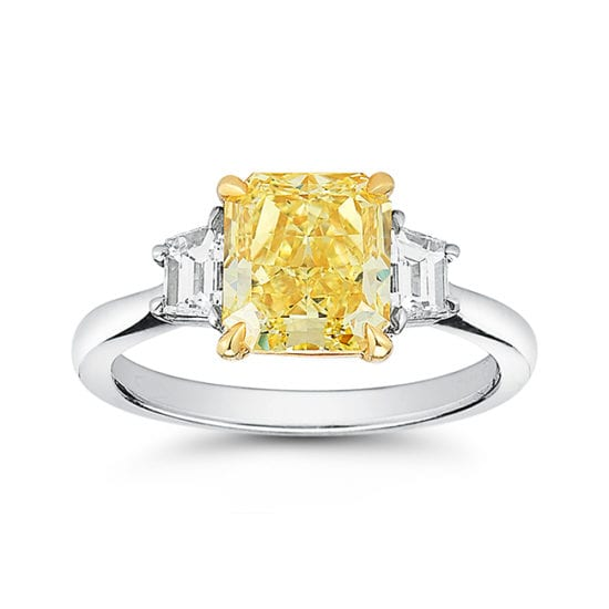 Fancy Yellow Three Stone | Marisa Perry by Douglas Elliott