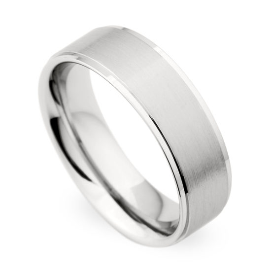 Christian Bauer Flat Band with High Polished Edges 18K White Gold