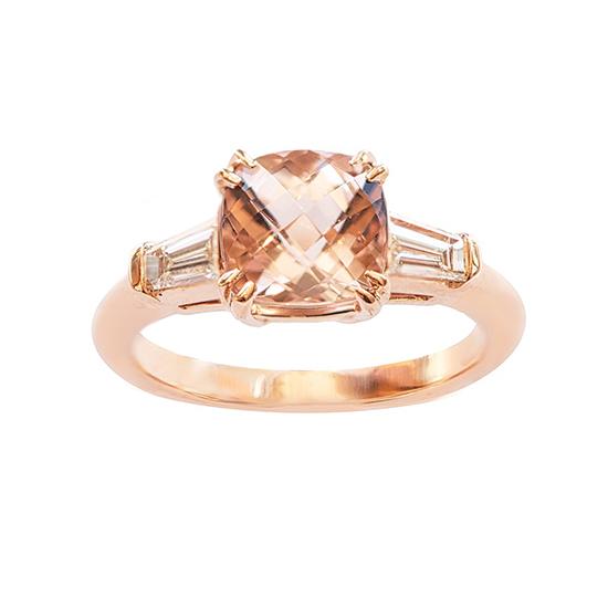 Morganite Three Stone Ring | Marisa Perry by Douglas Elliott