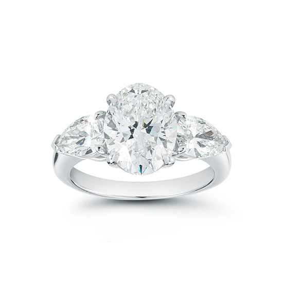 The Oval Pear Three Stone Ring | Marisa Perry by Douglas Elliott