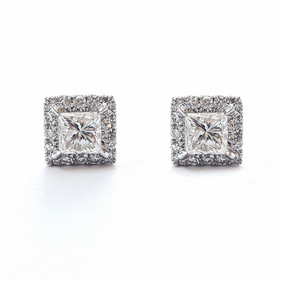 Princess Cut Diamond Micro Pave Earrings