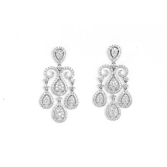 Diamond Raindrop Swirl Earrings 18k White Gold
