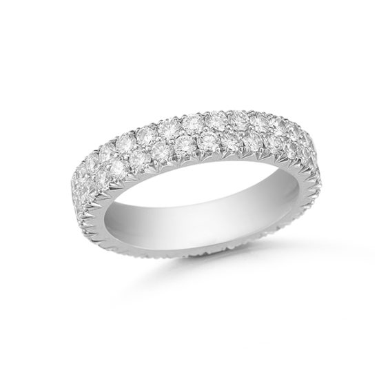 Double Row Two Point Micro Pave Band