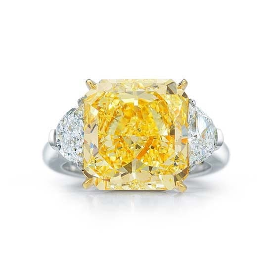 Yellow Radiant Diamond with Triangle Side Stones | Marisa Perry by Douglas Elliott