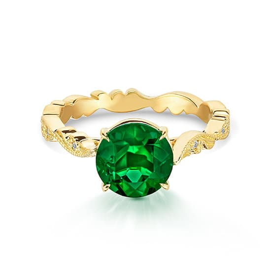 Emerald Chantilly Lace Ring 18K Yellow Gold | Marisa Perry by Douglas Elliott