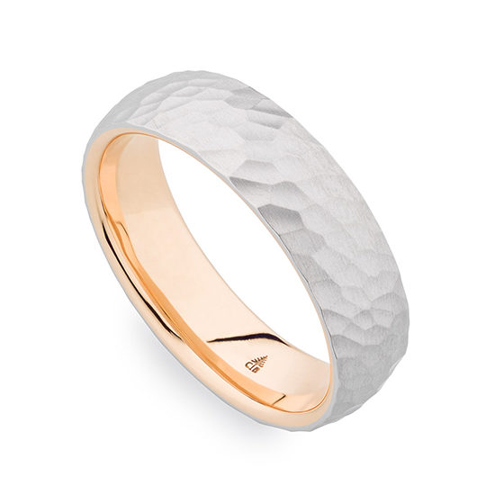 Christian Bauer Two Tone Satin Finished Hammered Band 14K Rose and White Gold