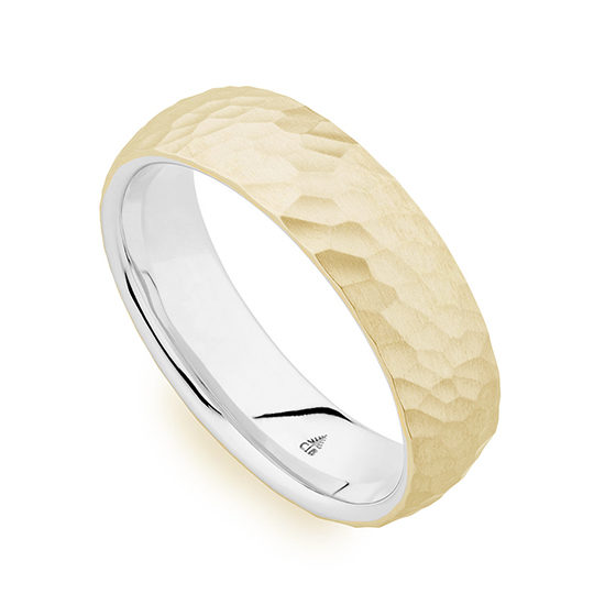 Christian Bauer Two Tone Satin Finished Hammered Band 14K Yellow and White Gold