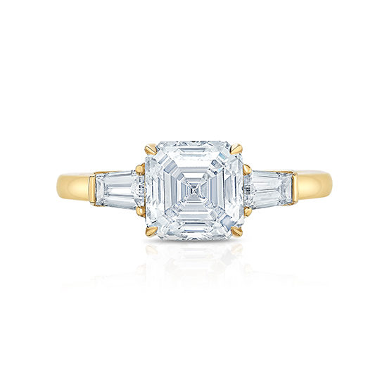 Asscher Cut Three Stone Engagement Ring 18K Yellow Gold | Marisa Perry by Douglas Elliott