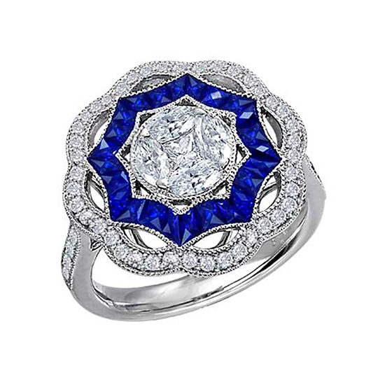 Art Deco Blue Sapphire and Diamond Cocktail Ring 18K White Gold